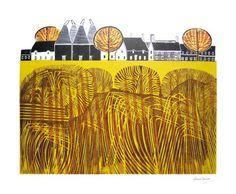 Village linocut - Robert Tavener