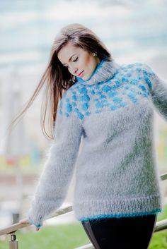 Custom Order Icelandic Turtleneck Mohair Sweater,Hand Knitted Norwegian Pull T58 #TiffyMohair #Sweater