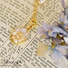 【SAWA サワ】 パール × 天然石 レジンプレート ネックレス (n57) レディース ファッション アクセ