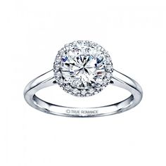 True Romance Halo Solitaire Diamond Engagement Ring 14K White Gold Solitaire Diamond Engagement Ring with a 0.29ct Round Brilliant Cut Center Diamond and a Diamond Pave Halo, 0.37ctw...