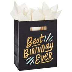 Send them down the path to the best birthday ever with this large black gift bag with glimmery gold accents. Die-cut handles carry the style—along with the gift. Black Gift Bags, Large Gift Bags, Happy Birthday Banners, Birthday Wishes, Black And White Quilts, Birthday Gift Wrapping, Birthday Week, Happy B Day, Paper Gifts