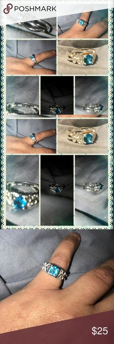 Butterfly open band real 925 silver ring size 7 Very beautiful blue topaz open band butterfly design real stamped 925 sterling silver ring size 7, very pretty and very nice, brand new 🚬🐱friendly🏡💖will consider trades and offers💖 alloy 925 silver Jewelry Rings