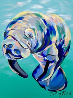 Mutlicolored Manatee by Kelsey Rowland- manatee art sea cow ocean decor beach wall art blue acrylic colorful beach Whale Painting, Underwater Painting, Lion Painting, Acrylic Painting Animals, Abstract Animals, Gouache Painting, Watercolor Paintings, Pop Art, Watercolor Lion