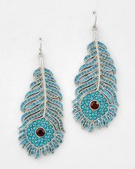 Tail Feather Large Silver and Turquoise Peacock Feather Statement Earrings-$34-Find hot fashion jewellery and statement jewlry at Strike Envy. #jewellery #jewlry