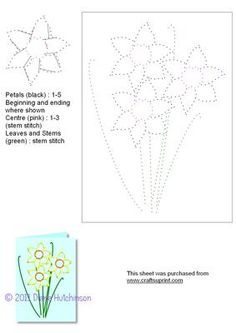 Daffodils on Craftsuprint designed by Diana Hutchinson - A stitching pattern… String Art Patterns, Doily Patterns, Card Patterns, Embroidery Patterns, Stitch Patterns, Dress Patterns, Stitching On Paper, Pin Card, Embroidery Cards