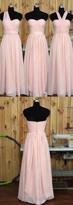 Pink Bridesmaid Dresses, Long Bridesmaid Dress, Sweetheart Bridesmaid Dresses, Chiffon Bridesmaid Dress, Ruffles Classic Bridesmaid Dresses