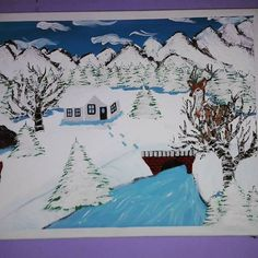 #pain #painting #malba #picture #pictures #art #country #krajina #krajinka #river #rivers #rieka #les #rozpravka #animals #dom #hause #three #strom #liska #zima #winters #winter #obloha #milujemmaľovanie #fantázia #fantasy #painted  #_painted_art_ Rivers, Tapestry, Fantasy, Country, Winter, Instagram Posts, Pictures, Painting, Animals