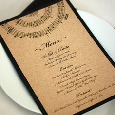 Music Wedding Menu — Add a little style to your table setting. Perfect for a rustic and music inspired wedding or event. The menu feature