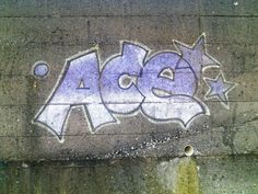 "aro-aceplace: "" sunaddicted: "" Thanks anonymous graffiti artist for the boost this morning 💕 "" [Image: Graffiti art of the word ace in bubbly purple letters on a stone wall.] """