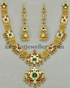 Jewellery Designs: Kundan Gold Floral Set with Earrings