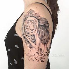 Fine stroke: the tattoo in the Fineline style - Tattoo created by tattoo artist Kristie Yuka (krisyuka) from Sao Paulo. Bull Tattoos, Leo Tattoos, Couple Tattoos, Mini Tattoos, Body Art Tattoos, Sleeve Tattoos, Jaguar Tattoo, Skull Rose Tattoos, Dope Tattoos For Women