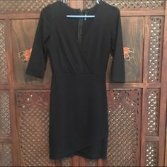 Black Wrap Dress From Lulus. Only worn once! Nice stretchy material Lulu's Dresses