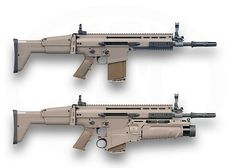 "SCAR-Hs 16"" barrel configuration - FN refers to as STD for Standard length. I think of as ""Carbine"" configuration. The SCAR-H with a 20"" barrel referred to by FN as LB for Long Barrel. I think of as ""Rifle"" configuration. We should not think of these shorter barrel weapons as ""rifles"" because that obscures the fact that shorter barrels = lower muzzle velocity = shorter effective range. Bottom SCAR has FN EGLM grenade launcher."
