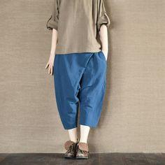 Two Colours Asymmetric Linen Pants Causel Women Clothes