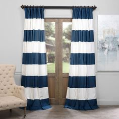 Blue And Off White 50 X 96 Inch Horizontal Stripe Curtain Half Price Drapes Panels & Panel