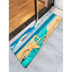$22.99 Summer Beach Flannel Skidproof Bath Mat - Blue - W24 Inch * L71 Inch