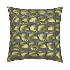 Benches/yellow Square Pillow by menny | Roostery Home Decor