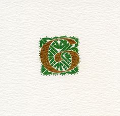 Gold Celtic letter 'G' within a green knotwork square Celtic Irish Birthday gift .