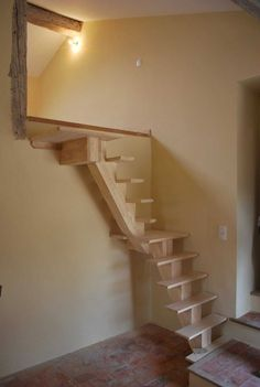 another great idea of a tiny staircase to loft! Garage Stairs, Tiny House Stairs, Attic Stairs, Small Staircase, Modern Staircase, Staircase Design, Architecture Renovation, Attic Renovation, Stair Ladder