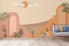 Abstract Desert Art with Stairs Wallpaper Mural