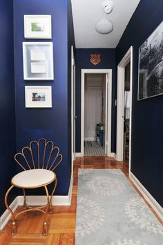 Navy hallway.  Paint colors that match this Apartment Therapy photo: SW 6264 Midnight, SW 6012 Browse Brown, SW 6643 Yam, SW 9179 Anchors Aweigh, SW 7672 Knitting Needles