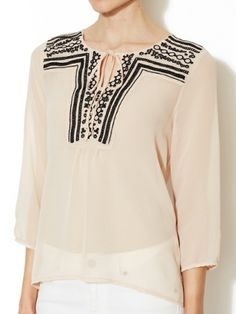 Chiffon Embroidered Peasant Top by Avaleigh at Gilt