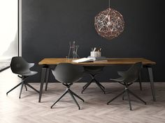 Dining set 108 featuring Sitia's Klera armchair and Tom Dixon's Etch Web Pendant