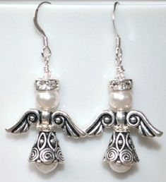 Gorgeous! Swarovski White Pearl and Silver Christmas Angel Earrings by BestBuyDesigns