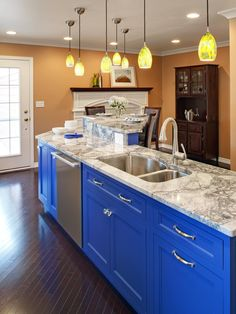 BOLD BLUE - HGTV's Best Kitchen Countertop Pictures: Color & Material Ideas   Kitchen Ideas & Design with Cabinets, Islands, Backsplashes   HGTV