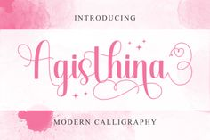 Agisthina is a romantic and sweet calligraphy typeface with characters that dance along the baseline. It will add a luxury... Wedding Script, Modern Calligraphy, Place Cards, Place Card Holders, Characters, Romantic, Dance, Luxury, Sweet