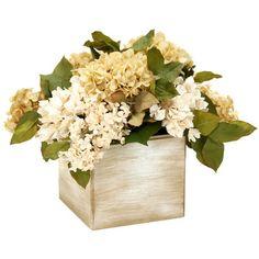Faux hydrangea and lilac arrangement in a square container.    Product: Faux floral arrangement   Construction Material...