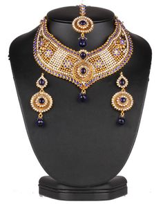 Designer bridal jewelry necklace set with clear and Sapphire Blue polki stones-0630SMBR13  http://www.craftandjewel.com/servlet/the-1897/Designer-bridal-jewelry-necklace/Detail