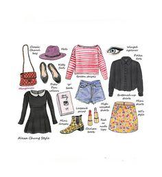 Alexa Chung Style  fashion illustration print  by Mangomini, $17.50