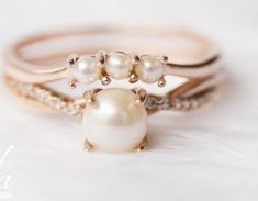 Beautiful Engagement Rings, Rose Gold Engagement Ring, Pearl Engagement Ring Vintage, Ring Set, Ring Verlobung, Coin Ring, Wedding Rings For Women, Wedding Ring Bands, Wedding Set