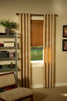 Custom Grommet Drapery panels with wood curtain rod and woven wood window shade treatments | BestWindowTreatments.com
