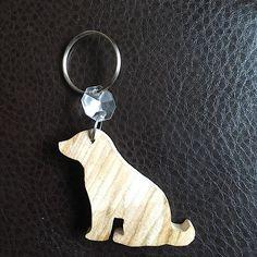 Wooden dog keyring