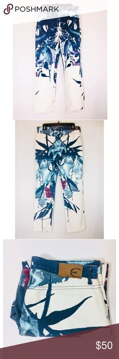 """Authentic Just Cavalli Abstract Print Denim Jeans Authentic made in Italy Just Cavalli Ittierre Style blue, white, and dark red abstract print straight leg jeans.  Retails for $450.    Size:  30 Measures:  30"""" waist, 33.5"""" inseam, 43.5"""" outseam Condition:  Gently worn good condition Disclosure:  Faded appearance of print is natural and not due to washing - jeans in beautiful condition   All REASONABLE offers considered - please NO lowballers! Roberto Cavalli Jeans Straight Leg"""