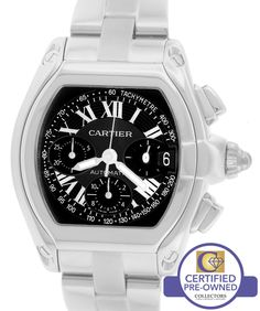 MINT Men's Cartier Roadster XL Stainless Black Chronograph Watch 2618 W62019X6