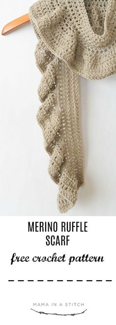 Merino Crocheted Ruffle Scarf Pattern 2019 This easy scarf pattern is so prett. Merino Crocheted Ruffle Scarf Pattern 2019 This easy scarf pattern is so pretty and the unique ru Crochet Ruffle Scarf, Crochet Scarves, Crochet Shawl, Crochet Clothes, Crochet Stitches, Beginner Crochet Scarf, Spiral Crochet, Chunky Crochet, Knit Cowl