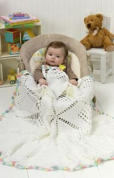 Doily Baby Blanket Free Crochet Pattern from Red Heart Yarns