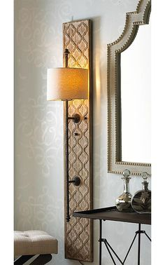 Nomadic Decorator | DIY Project: Wood Sconce with Embossed Stenciled Design…
