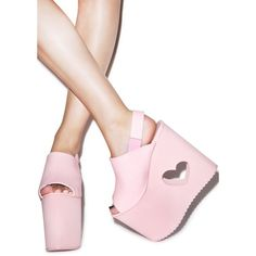 Y.R.U. X Nikki Lipstick BB Platform Sandals ($140) ❤ liked on Polyvore featuring shoes, sandals, platform shoes and platform sandals