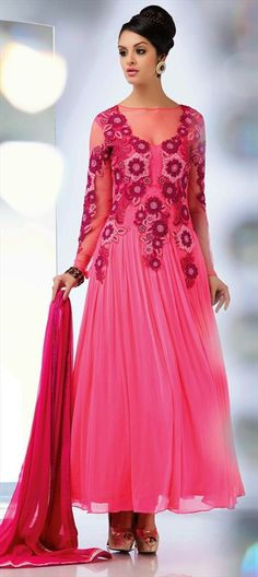 414052: Get the #Cinderella look here.  #pink #anarkali #embroidery #partywear #womenswear