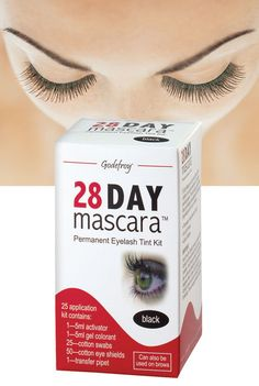 28 Day Mascara ~ 28 Day Mascara provides a gentle lash and brow tinting full of rich color for up to four weeks. Just affix included eye shields and apply activator (5 ml) and gel colorant (5 ml) to lashes and/or brows. Includes supplies for 25 applications. Black, Brown  ❣  http://www.aswechange.com/buy-28-day-mascara-336299?parentid=beauty-products-view-all