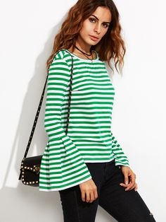 Shop Green Striped Bell Sleeve T-shirt online. SheIn offers Green Striped Bell Sleeve T-shirt