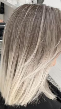 Brunette Hair Color With Highlights, Silver Blonde Hair, Blonde Hair With Highlights, Platinum Blonde Hair, Ash Blonde Ombre Hair, White Ombre Hair, Toner For Blonde Hair, Grunge Hair, Balayage Hair
