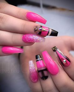 Great Ideas For Holiday Nails – NaiLovely Pretty Nail Colors, Pretty Nails, Fancy Nails, Cute Nails, Coffin Nails Matte, Stiletto Nails, Acrylic Nails, New Nail Trends, Types Of Nails