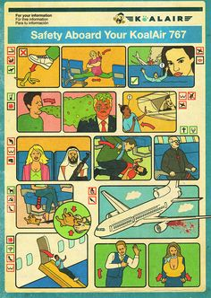 Tobatron, inflight instructional safety diagram illustrations with a tongue in cheek humorous concept. Information Design, Information Graphics, Layout Inspiration, Graphic Design Inspiration, Medical Illustration, Illustration Art, Art Template, Retro Wallpaper, How To Make Tea