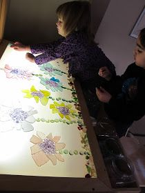 Creating flowers on the light table