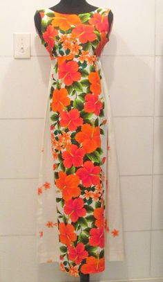 Vintage 60s Hawaiian Orange Floral Dress by MISSVINTAGE5000, $42.00